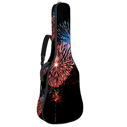 Gitarrentasche, verstärkt, dicker Schaumstoff, übermäßig gepolstert, extra Schutz, für Gitarrenkoffer, Hals- und Rückenaufhänger, Schlaufe für Akustikgitarre, klassische Gitarre, Feuerwerk