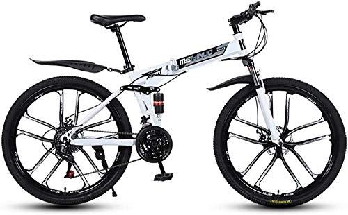 Bicicleta de montaña 21 Velocidad de 26 Pulgadas Rueda Dual Suspensión Bicicleta Plegable Dual Disc DE Disco Freno MTB Bicicleta (3/6/10/30/40-habla)-10Knives