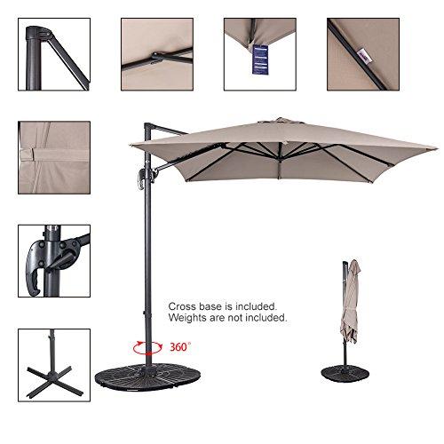 Sundale Outdoor 8.2ft Square Offset Hanging Umbrella Market Patio Umbrella Aluminum Cantilever Pole with Crank Lift, Corss Frame, Polyester Canopy, 360°Rotation, for Garden, Deck, Backyard (Tan)