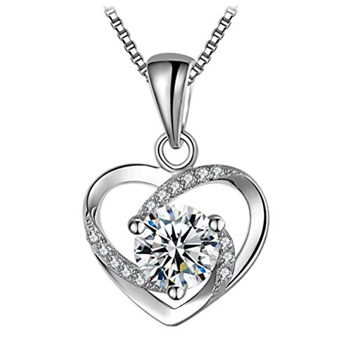 ABOOFAN 1PC Silver Necklace Pendant Stylish Fashion Heart Shape Neck Accessories Creative Elegant Jewelry for Women Girls Valentines Day.