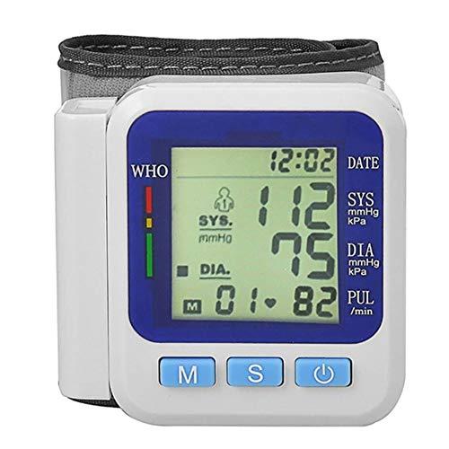SXFYGYQ Handgelenk-Blutdruckmessgerät Digitale Sprachwiedergabe mit Flüssigkristallanzeige-Blutdruckmessern zur Messung der Pulsfrequenz,Blue,70X72X23MM