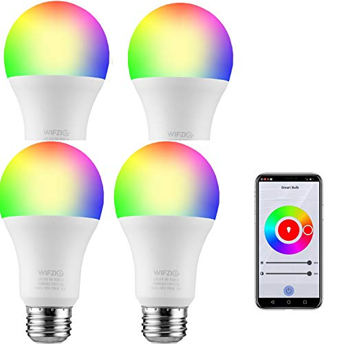 WIZIG Smart Light Bulbs, Smart A19 Color Changing LED Bulb,Works with Alexa&Google Home, RGBCW 2700K-6500K, 60 Watt Equivalent,Dimmable with App,A19 E26,No Hub Required,2.4GHz WiFi 4Pack