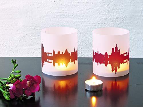 St-Petersburg Skyline Windlicht 2er Set Lichthülle - Tischlicht Geschenk-Idee Deko personalisierbar mit eigenem Namen Text Datum Spruch Botschaft