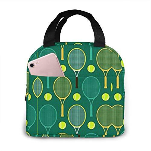 Bolsa de Picnic Azul y Verde para Raquetas de Tenis Bolsa Grande para preparación de Comidas Bento Bolsas Blandas Grandes a Prueba de Fugas
