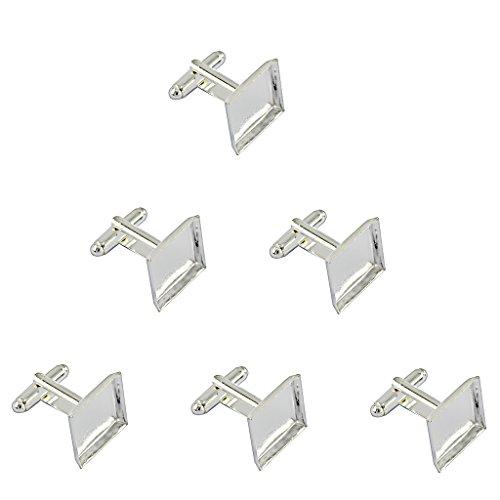Unbekannt 6pcs Platz Manschettenknöpfe Rohlinge Fassungen Schmuck für Cabochons Silber
