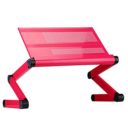 Adjustable Laptop Stand - Use in Bed Recliner/Sofa -Best Gift for Friend-Men-Women-Student- Couch Lap Tray- Aluminum Table for Computer- Built in Big Fans-Mouse Pad&USB Cord (Rose Red)