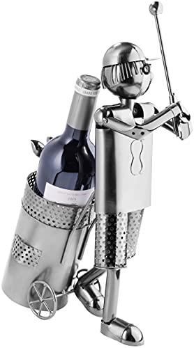 Brubaker Flaschenhalter Golfspieler beim Abschlag Metall Skulptur Geschenk mit Geschenkkarte - 4