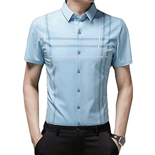 Camisa de Manga Corta de Verano para Hombre, Camisa a Rayas de Media Manga Suelta con Solapa Informal