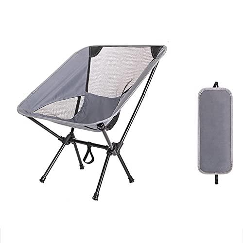 Silla plegable,silla de camping compacta portátil ultraligera,silla de playa con bolsa de transporte,utilizado para camping al aire libre, mochilero, senderismo (capacidad de peso 300 libras),Gris