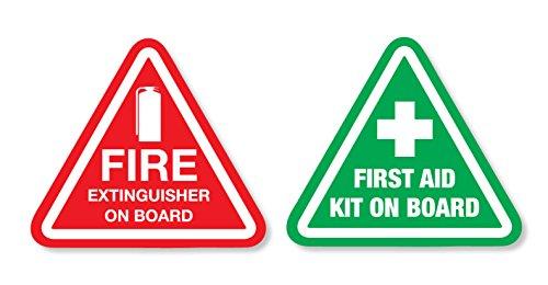 Erste-Hilfe-Set und extinguiser On-Board-Aufkleber für Auto, Van für den Notfall und zur Sicherheit