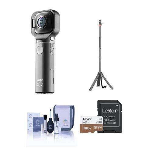 Vuze XR Dual 3D 360 / 2D 180 VR Camera, Black - Bundle with 128GB Micro SDXC Card, Joby TelePod 325, Cleaning Kit