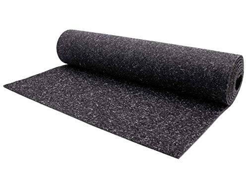 Nadelfilz Teppich-Boden Meterware MERLIN - Anthrazit, 2,00m x 1,00m, Schwer Entflammbarer Bodenbelag, Strapazierfähiger Nadelvlies für Büroräume und Messe