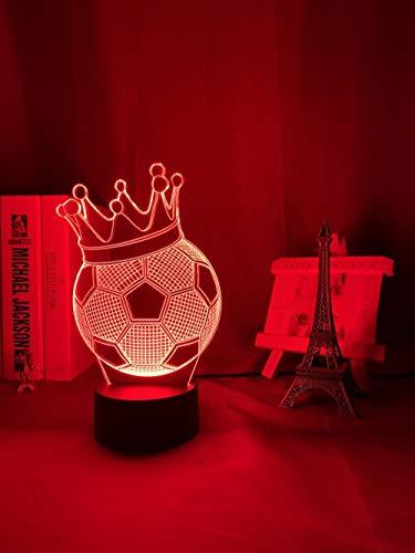Luz nocturna 3D con ilusión 3D, ilusión de fútbol, corona, 7 colores, luz nocturna para niños, dormitorio, ambiente de fútbol, habitación, lámpara de escritorio, regalo para niños