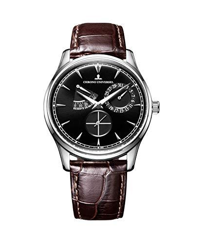 Chrono Universal Automatik-Armbanduhr, Stahl, Lederarmband, Saphirglas