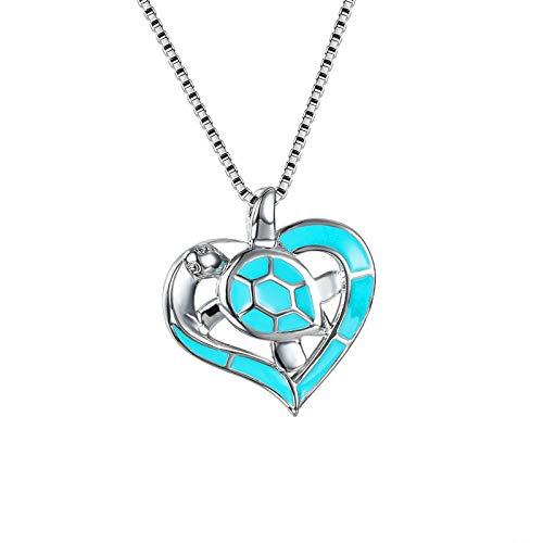 Collar Mujer corazón Opal Colgante Collar Encanto Plata Color Hueco Cadena Collares para Las Mujeres Linda Tortuga de mar Collar de Boda