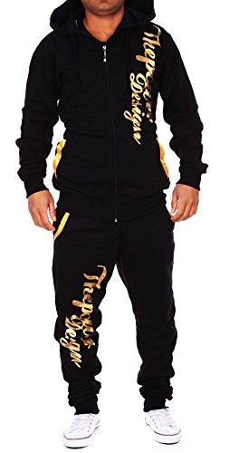 Violento Kinder Jungen Jogginganzug Jogging Hose Jacke Sportanzug Sporthose Fitness Hoodie schwarz/Gold XXS 152