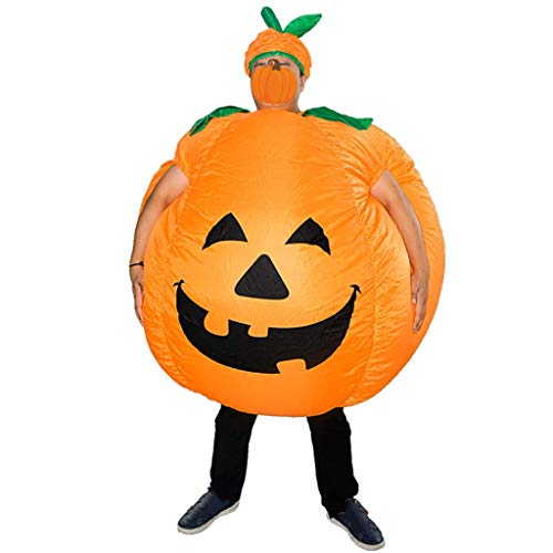 FEEE-ZC Aufblasbares Kürbis-Kostüm mit Hut Erwachsene Lustiges Blow Up Outfit Halloween-Kleid