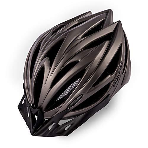 MOKFIRE Adult Bike Helmet for Men Women with Removable Visor & Rear Light CPSC Certified Bicycle Cycling Helmet Adjustable Lightweight Mountain Road Helmets,Titanium Matte