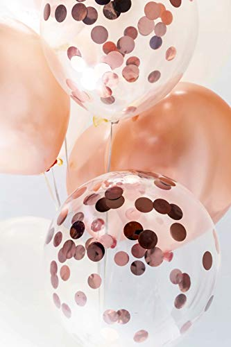 20 Pack Helium Balloons Latex - 12 Inch 10PCS Metallic Rose Gold and 10PCS Transparent Balloon with Biodegradable Confetti for Birthday, Wedding Reception, Bridal Shower, and Event Decorations by My Party (Health and Beauty)