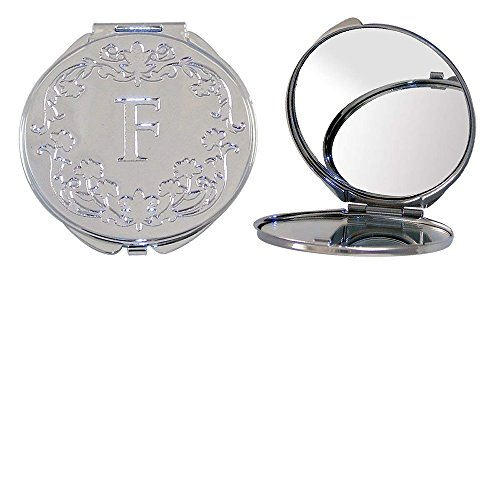 """Polished Metal Compact Purse Mirror with Dual View, Monogram Initial""""H"""" and Floral Print."""