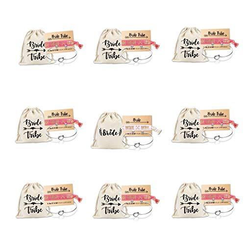 Mookoo Bridemaid Love Knot Bracelets Set 9 Set Bride Tribe Hair Tie and...