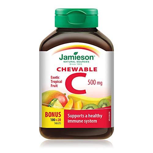 Jamieson - Vitamina C 1000 Masticabile, 120 Compresse, Frutti Tropicali, 500 Grammi