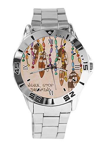Dream Catcher Never Stop Dreaming Fashion - Reloj deportivo para hombre con correa de acero inoxidable, analógico, de cuarzo