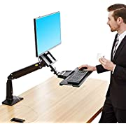 NB North Bayou Sit Stand Desk Converter Height Adjustable Standing Desk Workstation for 22''-35'' Monitor Mount Arm with Keyboard Tray FC35 (Black-for 22''-35'' Monitor Within 6.6~19.8 lbs)