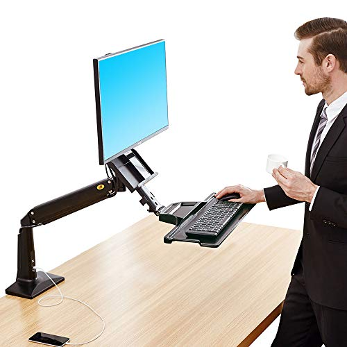 NB North Bayou Sit Stand Desk Converter Height Adjustable Standing Desk Workstation for 22-35 Monitor Mount Arm with Keyboard Tray FC35 (Black-for 22-35 Monitor Within 6.6~19.8 lbs)
