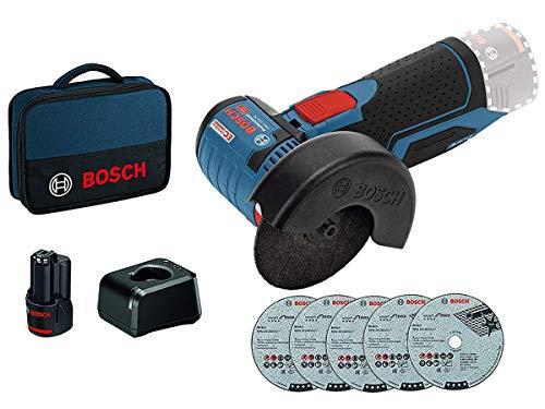 Bosch Professional 12V System Akku Winkelschleifer GWS 12V-76 (12 Volt System, 1 x 2.0 Ah Akkus, 5tlg. Trennscheiben Set, in Tasche)