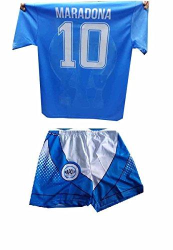 Generico Completino Pantaloncini e t-Shirt Maglia Azzurra Stampata Mars ricordo Napoli Maglietta Maradona Omaggio amuleto corni (L Adulto)