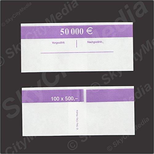 Banderolen für Euro Geldscheine je 50x (500 € Banderole) Geldbanderole Papier für Geldbündel Fassungsvermögen je 100 Scheine