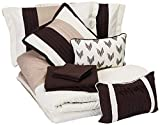 Chic Home Eyelet 10 Piece Comforter Set Color Block Ruffled Bag Bedding-Decorative Pillows Shams Included, Queen, Beige