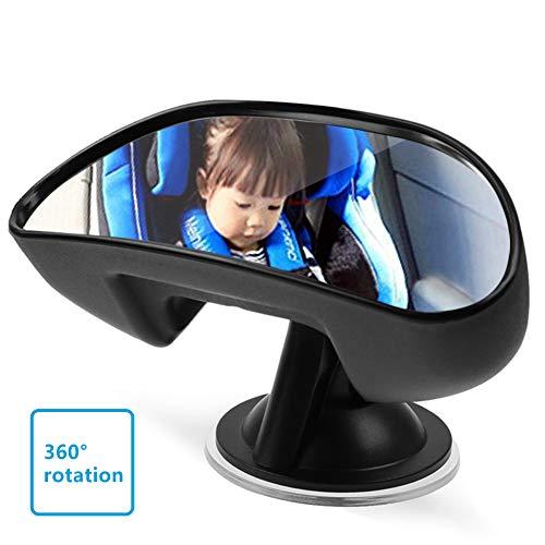 UEOTO Espejo retrovisor para Coche de bebé para Interior, Espejo de Coche con Ventosa, 360 Grados Parte Trasera del Asiento Trasero del Coche Espejo retrovisor para niños Negro