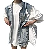 GenericC Women Sexy Loose Fit Denim-Waistcoat Sleeveless Ripped Distressed Jean Vest