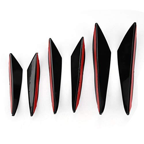 Front Lip Spoiler Splitter, 6Pcs Gloss Black Auto Frontstoßstange Windmesser Trims Front Bar Universal