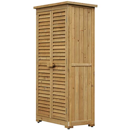 armadio da esterno di legno Outsunny Armadio Porta Attrezzi da Giardino Impermeabile 3 Ripiani Legno 87x46.5x160cm