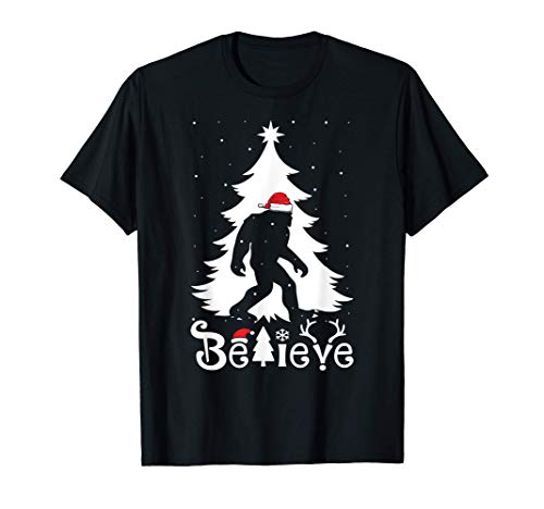 Bigfoot Christmas Gifts For Men Boys Girls Funny Christmas T-Shirt