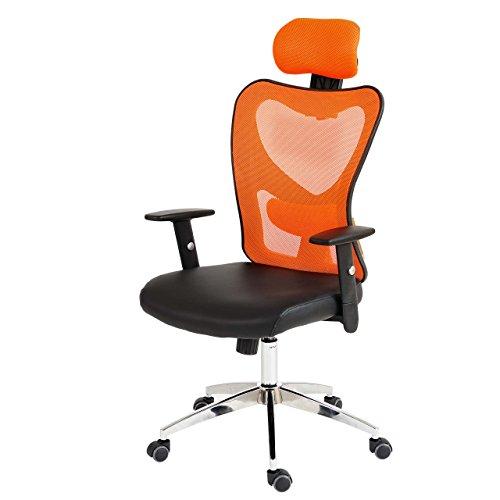 Mendler Profesional de Oficina–Silla Atlanta XXL, giratoria, 150kg de Piel sintética ~ Naranja