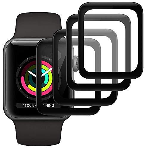 Ash-case【4 Stück Panzerglas Schutzfolie Bildschirmschutz für Apple Watch Series 3/2/1 38mm [Anti-Öl], [Anti-Bläschen], [3D Vollständige Abdeckung],[Anti-Kratzen]
