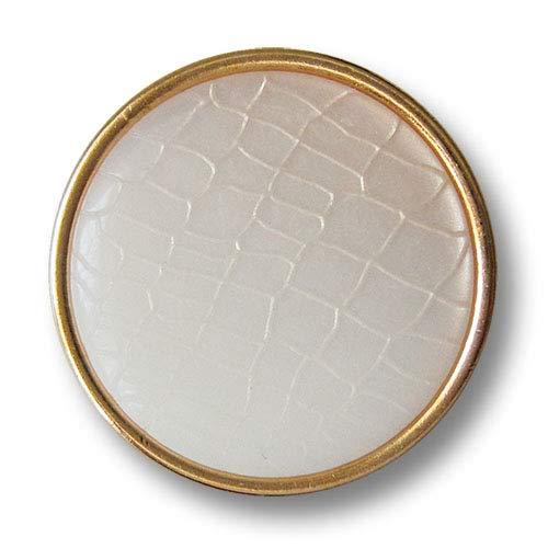 Knopfparadies - 6er Set goldfarb. Ösen Metallknöpfe mit Perlmutt-weißer Einlage in Reptil Optik/Goldfarben, Perlmuttartig Weiß bis Cremeweiß changierend/Metall Knöpfe/Ø ca. 23mm