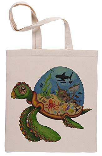 Acuario de tortugas Beige Reutilizable Bolsa De Compras Reusable Beige Shopping Bag