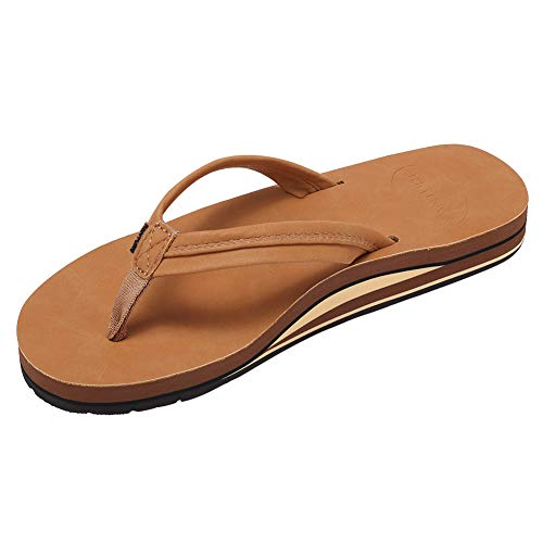 FANTURE Womens Sandals Arch Support Flip Flops with Wide Strap Orthotic Comfort Walk Thong Style Casual Slipper Indoor and Outdoor -U420SCHTXN-Light Brown-9