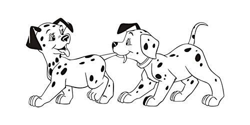 jiushivr Due simpatici cani Adesivi murali casa Adesivi murali Vinile Decor Decorazioni Camerette Camerette Animali Animali da parete Animali domestici 42x93cm