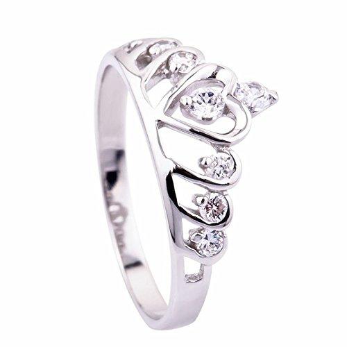 Ecloud Shop Wedding Rings Sterling Silver Heart Princess Crown