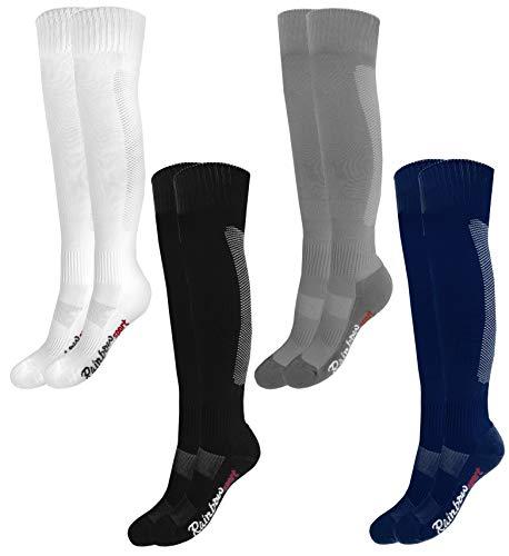 Rainbow Socks - Jungen Mädchen Fußball Soccer Kniestrümpfe - 4 Paar - Schwarz Grau Dunkelblau Weiß - Größen 24-29