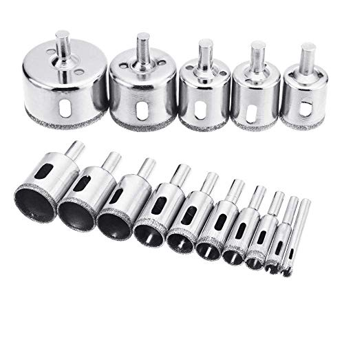 Drill Bit Sets 15Pcs/Set 6Mm-50Mm Diamond Holesaw Drill Bit Tool for Ceramic Porcelain Glass Marble 6/8/10/12/14/16/18/20/22/25/26/28/30/40/50M Durable and Strong