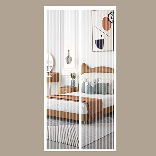 YUANBIAO Cortina Mosquitera Magnética 140x230cm Mantener Alejado de Mosquitos Cortina de Malla Plegable para Balcones, Puertas Interiores y Exteriores, Blanco