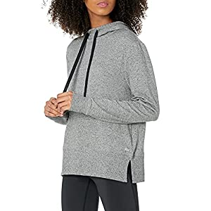 Amazon Essentials Women's Studio Terry Long-Sleeve Convertible Hood Shirt, Grey Marl, S