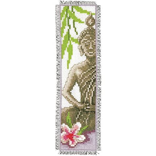 Easy Cross Stitch Kits Book Mark DIY Fabric Book Mark Cross Stitch Kits Embroidery kit 3-Threads Cloth Bookmarker Counted Buddha Statue Pattern 14CT DIY Special Bookmark for Reading,(2.13x7.40inch)